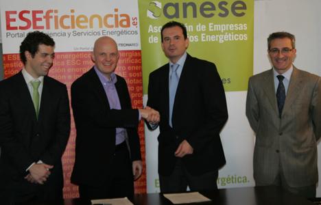 José Martínez, Gerente de ANESE, Stefan Junestrand, Director General del Grupo Tecma Red,  Rafael Herrero, Presidente de ANESE  y Santos de Paz, Director de ESEFICIENCIA.