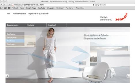 Imagen de la renovada web de Zehnder