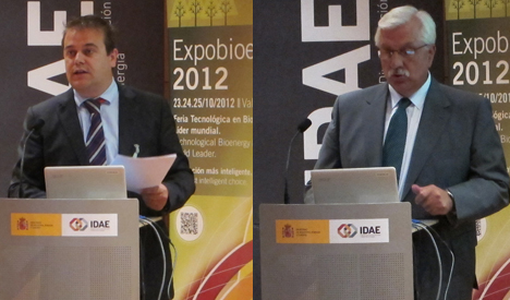 A la izquierda Jorge Herrero, director de Expobionergía y a la derecha Javier Díaz, presidente de AVEBIOM y de Expobioenergía.