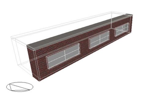 Figura 1. Imagen y propiedades de la fachada. El recinto es de 20m.(fachada) x 5m. x 3m.