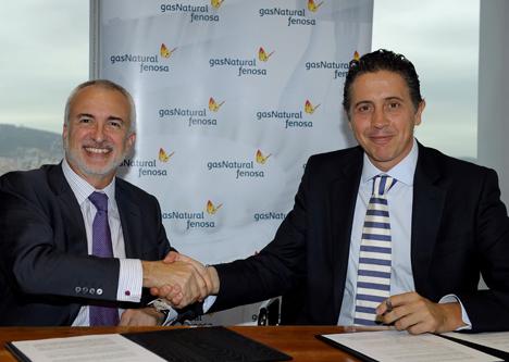 De izquierda a derecha, el director general de Negocios Minoristas de Gas Natural Fenosa, Daniel López Jordà, y el director general de Philips Alumbrado, Eduardo Mataix