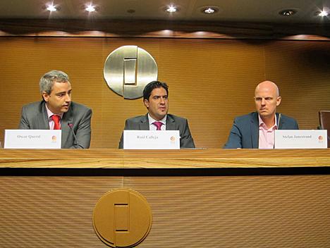De izquierda a derecha, Óscar Querol, Director Técnico de AFME, Raúl Calleja, Director de MATELEC y Stefan Junestrand, Director General de Grupo Tecma Red
