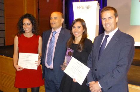 De izqda a dcha Vanesa Pérez, el director del IDAE, Fidel Pérez Montes, Sara Delgado y el presidente de A3e, Manuel Sayagués