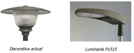 Sustitución de unas luminarias por otras