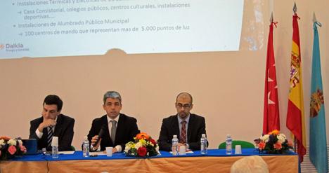 Ignacio Huici, director de Desarrollo de Dalkia Energía, Fernando Arias, concejal del Ayuntamiento de Galapagar y Rubén López de Elecnor