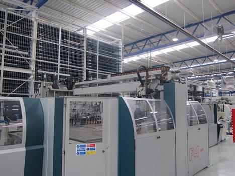 Una de las potentes máquinas de la fábrica de ThyssenKrupp