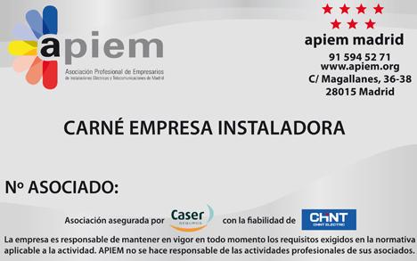 Carné Empresa Instaladora de APIEM