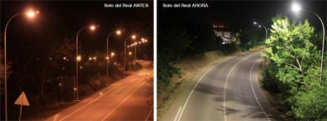 El antes y el después de la iluminación en Soto del Real