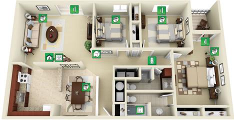Plano de vivienda con sistema de calefacción i€CO de 4uControl