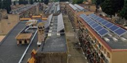 Instalación fotovoltaica en el cementerio de Les Corts en Barcelona