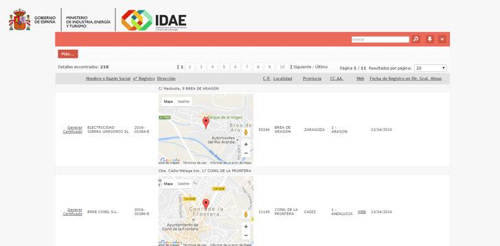 IDAE publica en su página web el Listado de Proveedores de Servicios Energéticos. Pantallazo página web.