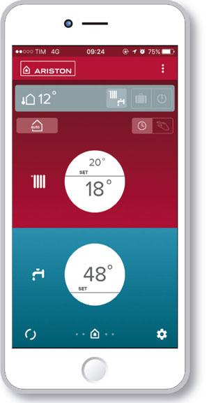 Ariston Net, aplicación móvil para gestionar la temperatura del hogar. Reduce el consumo energético en un 40%.