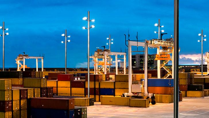 Iluminacion led puerto Rotterdam. Luminarias led Setga.