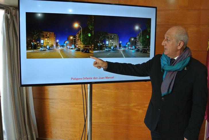 Ayuntamiento de Murcia renovará el alumbrado urbano del barrio Infante don Manuel con tecnología LED.