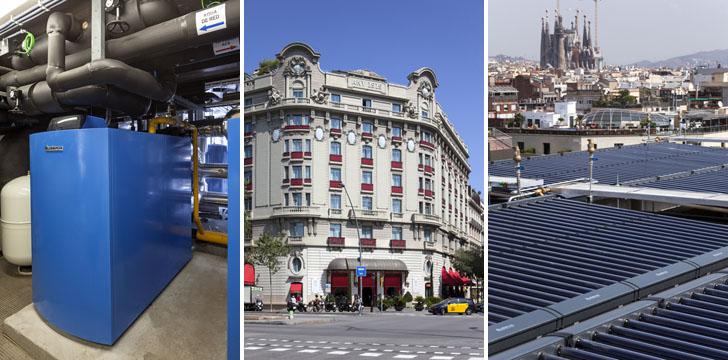 Buderus suministra energía para calefacción y acs en el Palace Hotel Barcelona. Izquierda: Generador de calor Logano Plus GB402D. Centro: Fachada Hotel Palace Barceloa. Derecha: colectores solares de tubo de vacío Buderus Logasol SKR10-CPC.