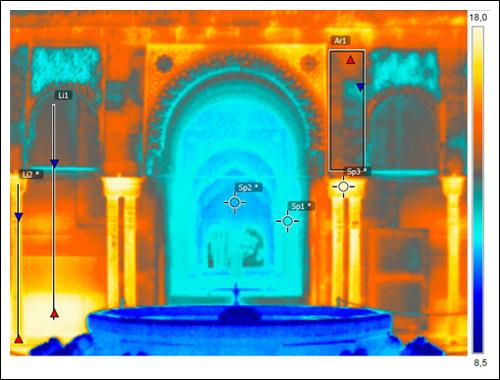 Termografía muestra distintos materiales.