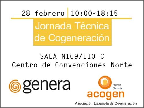 Banner de la jornada sobre Cogeneración.