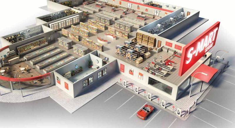 Infografía de un supermercado con ls solución Smart Store de Danfoss.
