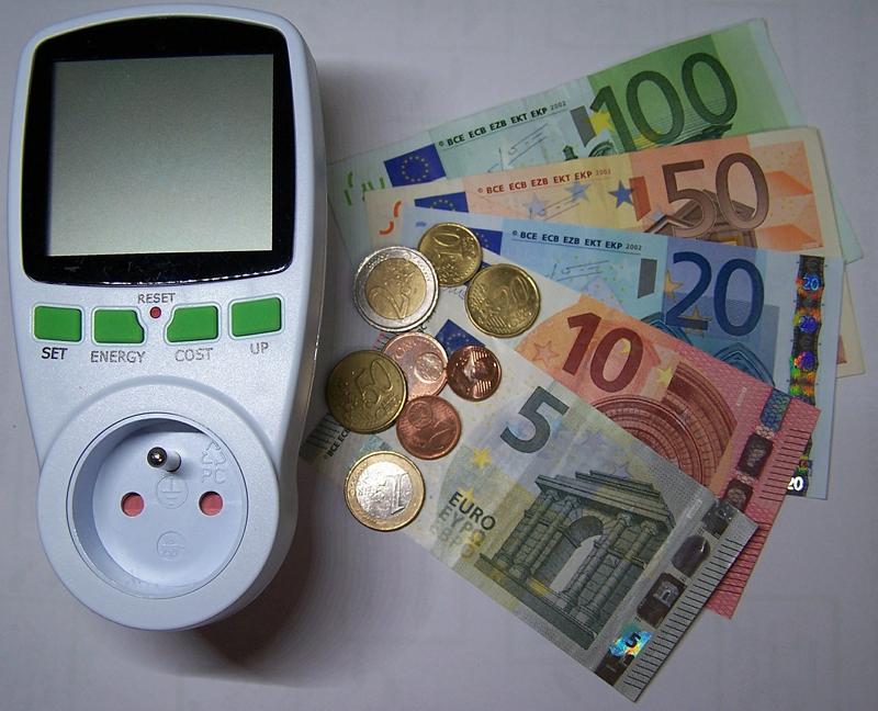 Programador consumo energético y monedas.