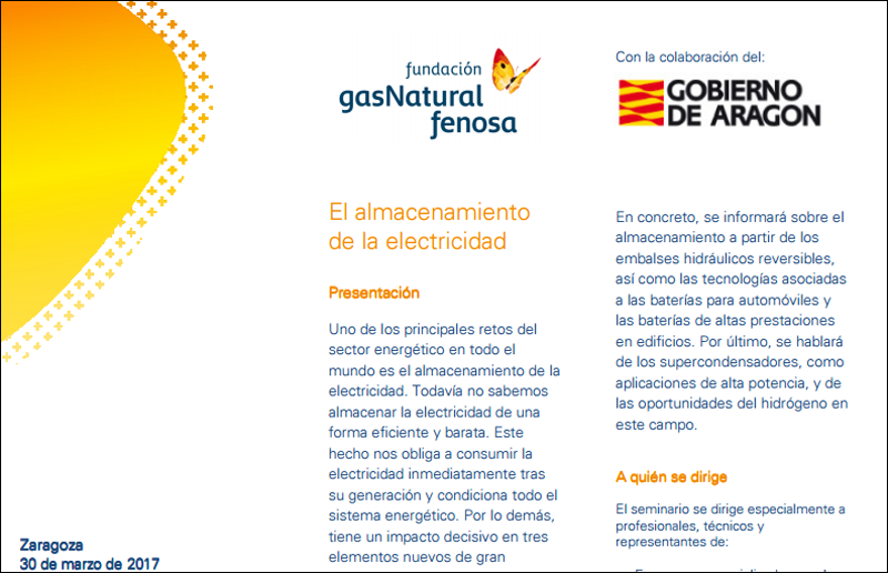 Fragmento del tríptico que informa sobre el seminario organizado por Fundación Gas Natural Fenosa y Gobierno de Aragón sobre el almacenamiento de electricidad.