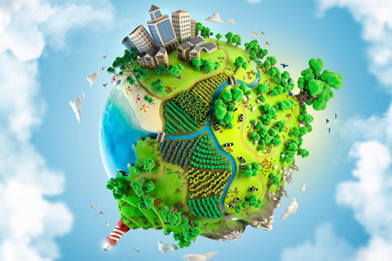 Infografía de un globo terráqueo que representa la sostenibilidad y el uso de energías limpias. Gas Natural Fenosa pone en marcha su Plan Director de Sostenibilidad.