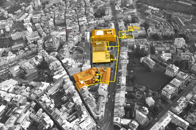 Vista aérea de Olot donde se marca en naranja los edificios que componen la red de climatización.