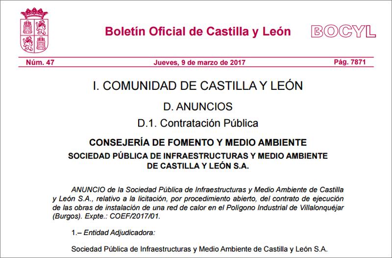 Fragmento del anuncio de licitación de las obras de construcción de una red de calor en Burgos, publicado por Somacyl en el Boletín Oficial de Castilla y León.