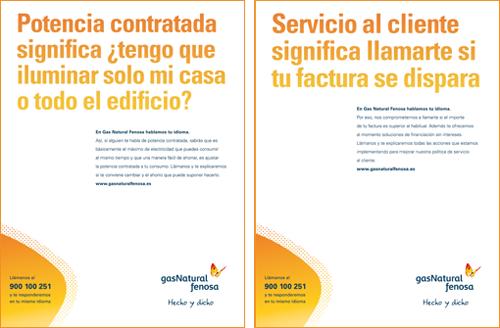 """Mensajes de la campaña """"Hablamos tu mismo idioma"""" de Gas Natural Fenosa."""