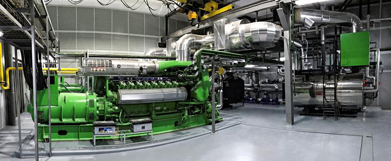 Sala de máquinas de una planta de cogeneración.