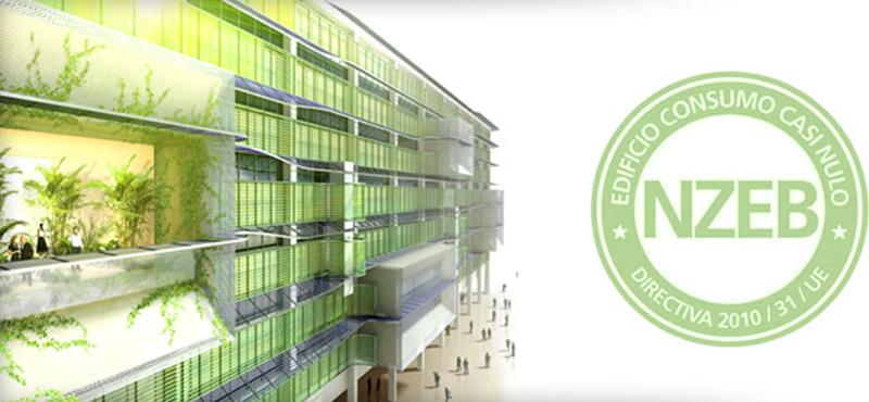 Eificio verde. Sello Edificio Consumo Casi Nulo.
