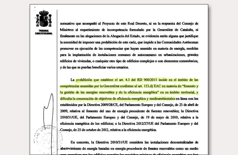 Fragmento de la sentencia del Tribunal Constitucional.