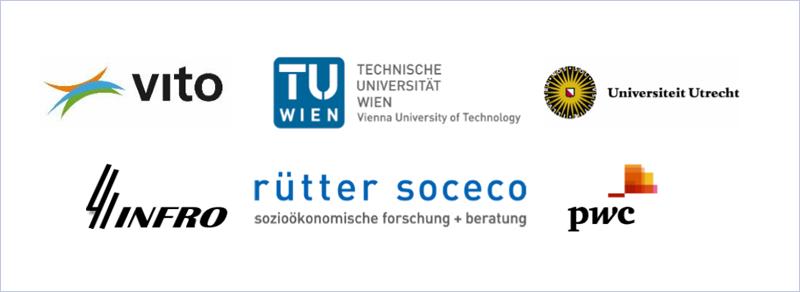 """Logos de los miembros del consorcio que ha elaborado el informe """"Uso óptimo y sostenible de la biomasa para energía en la UE después de 2020""""."""