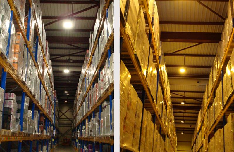 Dos fotos del almacén logistico de bodegas Murviedro muestran las diferencias entre la anterior iluminación y la nueva.