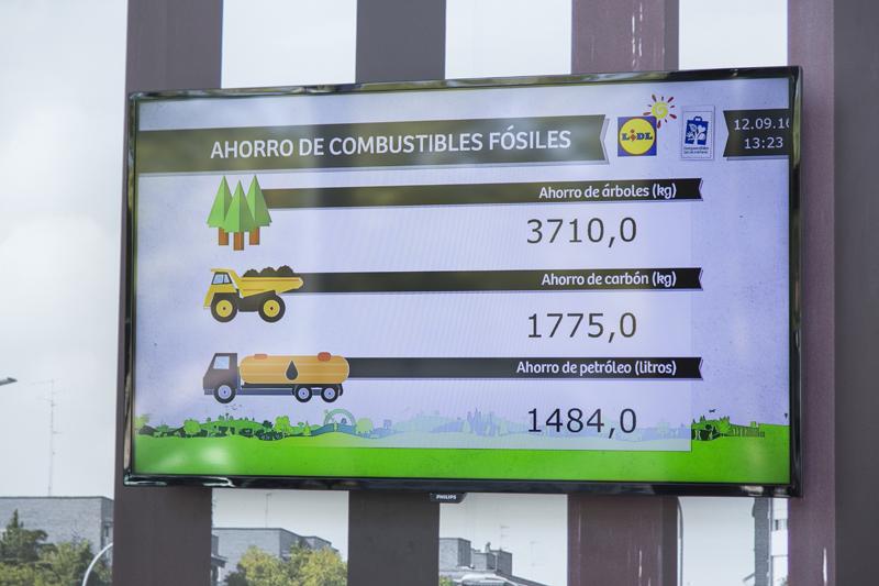 Panel informativo donde el cliente de las tiendas LIDL puede comprobar los ahorros energéticos de la tienda.