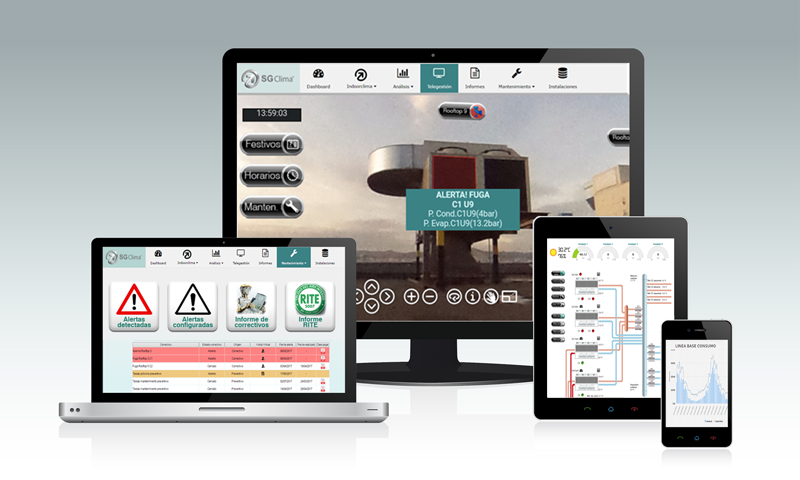 Pantallas de dispositivos electrónicos con aplicaciones de SGClima, de Indoorclima.