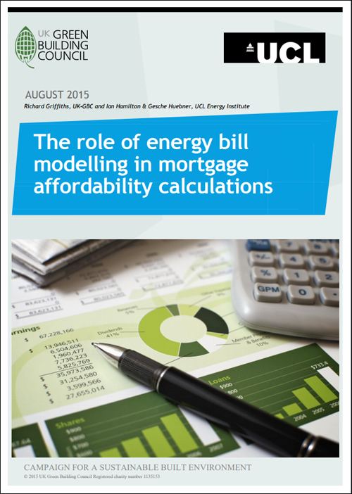 "Portada del Informe elaborado por UK-GBC ""The role of energy bill modelling in mortgage affordability calculations""."