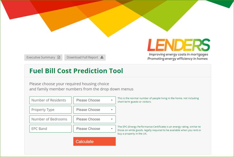 Pantallazo de la calculadora online del proyecto LENDERS.