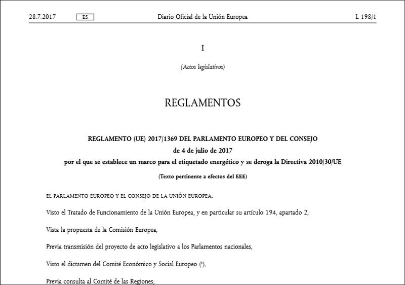 Fragmento de la primera página del Reglamento UE 2017/1369 del Parlameneto Europeo y del Consejo por que se establece un marco para el etiquetado energético y se deroca la Directiva 2010/30 /UE.