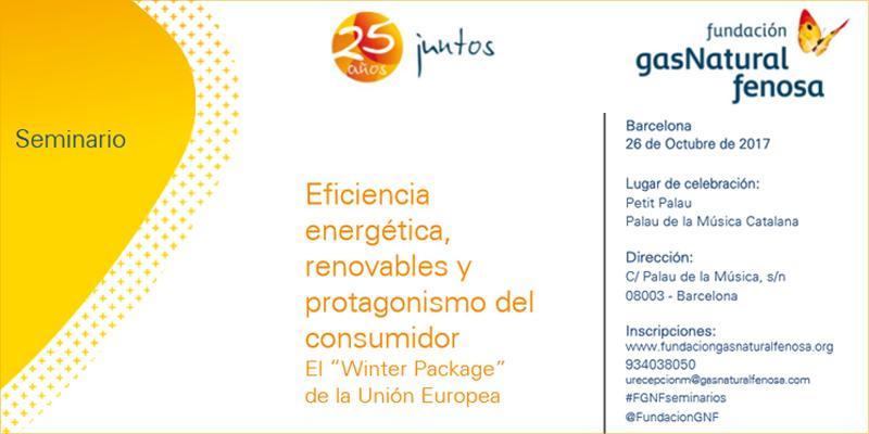 Anuncio del seminario que Fundación Gas Natural Fenosa celebra el 26 de octubre en Barcelona.