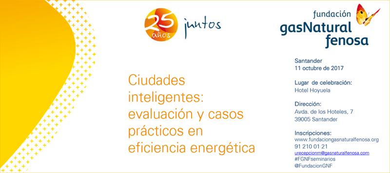 """Fragmento del tríptico sobre el Seminario """"Ciudades inteligentes: evaluación y casos prácticos en eficiencia energética"""", que se celebrará en Santander el próximo 11 de octubre."""