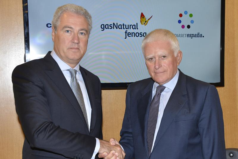 Jordi Garcia Tabernero,director general de Comunicación y Relaciones Institucionales de GAS NATURAL FENOSA,y Paolo Vasile, consejero delegado de Mediaset.