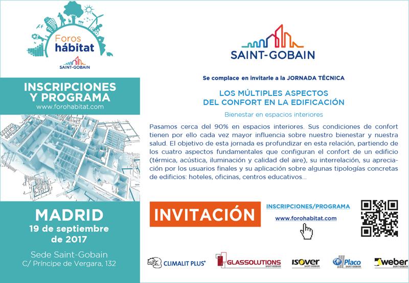 """Invitación para asistir a la Jornada Técnica de Saint Gobain titulada """"Los múltiples aspectos del confort en la edifcación""""."""