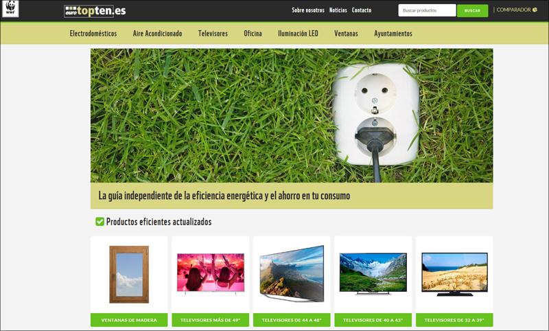 Pantallazo de la Homepage de www.eurotopten.es de WWF.