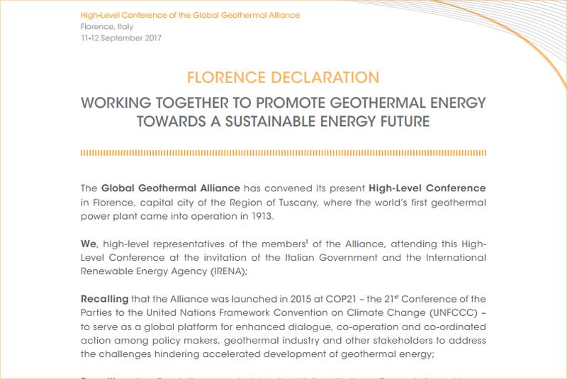 Fragmento de la Declaración de Florencia para impulsar el desarrollo de la energía geotérmica.