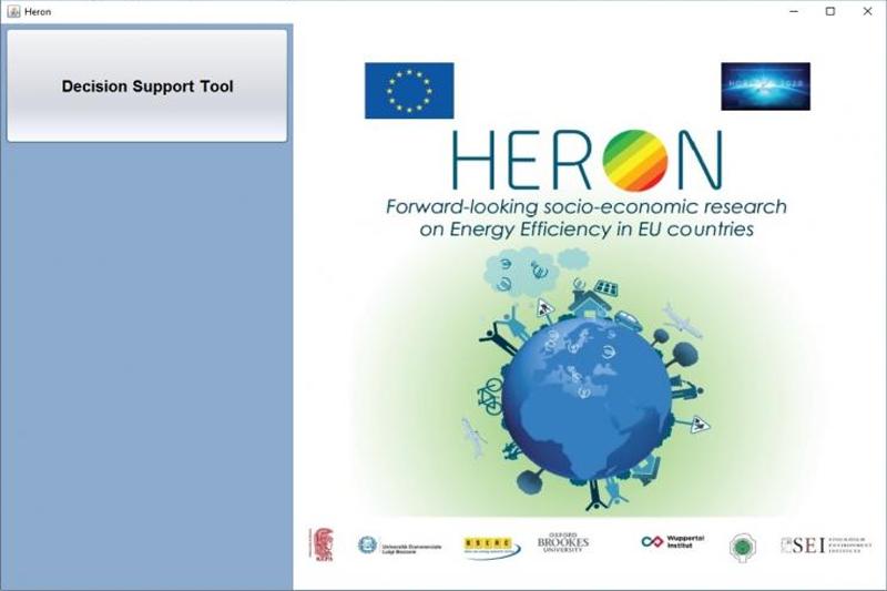 Pantallazo de HERON DST, herramienta que apoya la elaboración de políticas de eficiencia energética incorporando datos relativos al comportamiento de los usuarios.