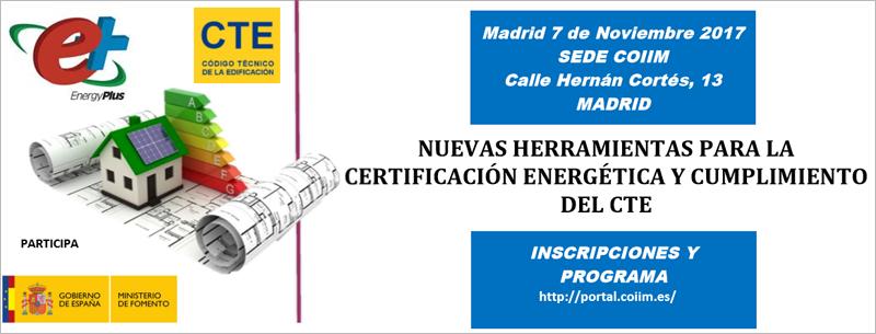 Anuncio de la jornada sobre herramientas para la certificación energética y la verificación del cumplimiento del CTE.
