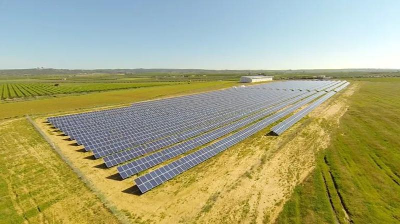 Planta solar de la cooperativa Som Energía en Alcolea del Río, Sevilla.