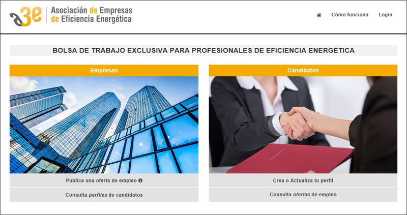 Pantallazo de la página de inicio del portal de A3e dedicado a la búsqueda de empleo en el sector de la eficiencia energética.