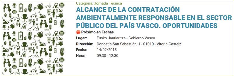 Anuncio de la jornada que organiza el Gobierno Vasco sobre Compra Pública Sostenible.