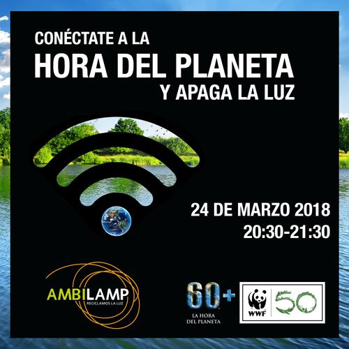 Anuncio de la Hora del Planeta con el logo de Ambilamp.